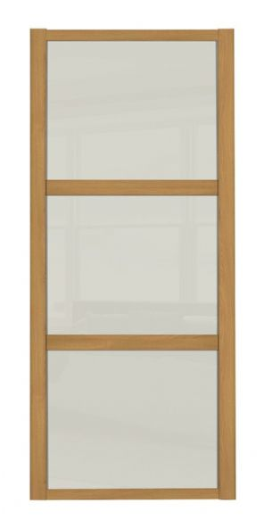 Shaker Sliding Wardrobe Door- OAK FRAME - 3  SOFT WHITE PANELS